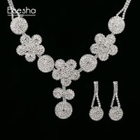 Wholesale Silver Diamond Flower Bridal - Ecesha Crystal Bridal Jewelry Sets Big Flower Pendant Necklace&Drop Earrings Set Created Diamond Jewelry Set Wedding Accessories