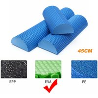 Wholesale Wholesale Foam Roller - Wholesale-Yoga foam roller EVA 45cm yoga block half round for yoga pilates trainning fitness rollers with trigger points Muscle relaxation