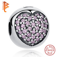 BELAWANG 925 Sterling Silver Crystal Clip Charm Beads Fit Pandora Charm BraceletsBangles DIY Bijoux Positionnement Buckle Pink Beads
