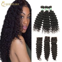 Unprocessed Малайзийская Virgin Human 3 Hair Bundles With 4x4 Closure Deep Wave 1B Color With Baby Hair Лучшие продажи Queenlike 7A Silver Grade