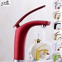 Wholesale White Bathroom Taps - Wholesale- Newly Colorful Bathroom Basin Faucets Hot&Cold Waterfall Bathroom Mixer Tap Brass Gold Chorme White Antique Gold Red  Faucet