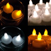 Wholesale Candle Lantern Floating - Colorful Waterproof Light Water Floating Flameless LED Tealight Candles Wishing Lantern Romantic Wedding Party Decoration CCA7297 240pcs