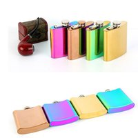 Wholesale Whisky Hip Flask - Rainbow Colored Plating Stainless Steel Hip Flask 6oz Creative Electroplate Whisky Flagon Portable Wine Jug 4 Colors 50pcs OOA3750