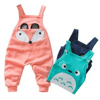 Wholesale Baby Boy Suspender Trousers - Animal embroidery new styles 100 cotton knitting fabric boys girls overalls solid color adjustable baby suspender trousers