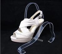 zapatos de acrílico soportes al por mayor-10 unids Moda nuevo estilo sandalias de las mujeres de acrílico transparente que muestra el soporte doblado Zapato Display Rack Stand Bouncing Shoe Support repisa