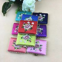 Wholesale Mirrors Chinese Wholesale - Free Shipping Taobao Chinese Style Silk Embroidery two face Side Rectange pocket inexpensive wedding favors compact mirror bulk