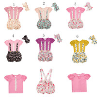 Wholesale New Style Girls Top S - 2017 new Children outfits girls summer Bow headband+Top+Floral Strap shorts 3pcs set baby Floral suits C2317
