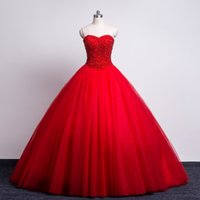 Wholesale Photography Stones - Red Stones Ball Gowns Wedding Dresses 2017 Vestido De Noiva Sexy Sweetheart Real Photos Tulle Ruffles Tulle Lace up Photography Bridal Gowns