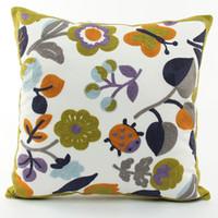 Wholesale Korean Style Sofas - Korean Pastoral Style Embroidery Cushion Cover Plant Leaves Flowers Butterfly Ladybug Embroidered Cushion Covers Decorative Sofa Pillow Case