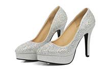 Wholesale Wedding Shoes Taiwan - Bride shoes high-heeled shoes heel waterproof Taiwan pointed silver wedding shoes red wedding shoe golden diamond