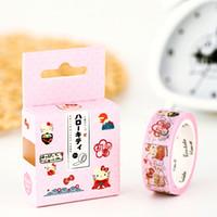 karton yapışkan bant toptan satış-Toptan-2016 Kawaii Hello Kitty Kitti Desen Maskeleme Bant Yapıştırıcı Washi Bant Karikatür Gitl Kağıt Dekor Hediye Sarma Kağıt Scrapbookin