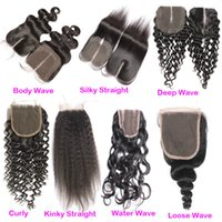 Wholesale Peruvian Hair Silk Closure Piece - Hot Sale 4x4 Peruvian Silk Straight Hair Closure Cheap Free Middle Three Part Top Lace Closures Pieces For Human Hair Weaves Bundles