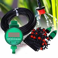 Wholesale garden sets sale - Wholesale- 2017 New Hot Sale Micro Drip Irrigation Self Watering Automatic System Kit Sets Adjustable Drippers For Plant Garden Greenhouse