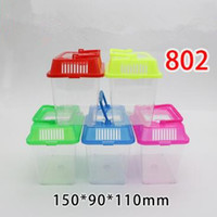 Wholesale Pet Rat Houses - Cute Portable Hamster Cage Small Animals Home Carry Case Pet Carrier Rabbit Plastic House Nest Transparent Cover Nice Cage CCA6806 150pcs