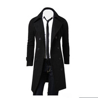 Wholesale Stylish Men Trench Coats - Wholesale- Winter Men Slim Stylish Trench Coat Double Breasted Long Jacket windbreaker coat