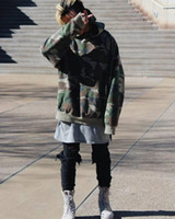 Wholesale Hip Hop Camo Clothing - new 2017 FOG hoodies drake mens brand hip hop clothing jacket kanye west oversized camo hoodie streetwear