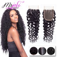 Cabelo de Virgínia da Malásia 4x4 Encerramento de Enxertos Ternos de Onda Profunda Cor natural Hot Selling Beauty Hair Free / Middle / Three Part 6-22 Inches