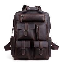 Wholesale Leather Laptop 17 - Handcrafted Real Leather Vintage Laptop Backpack Shoulder Bag Travel Bag Large Cowhide Fit 17 Inch Laptop bag105