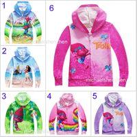 Wholesale Princess Sweatshirts - 6 Styl Boys girl Trolls Moana Hoodies Sweatshirts children cartoon princess Long sleeve zipper Hoodie jacket kids coat B001