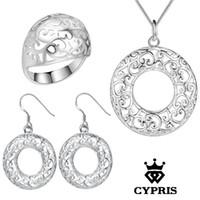 Wholesale Snake Earrings Rings - WHOLESALE lose money silver Jewelry sets Necklace Earring Ring Size 8 Hollow Flower 18inch 1mm Snake chain Women 925 jewelry