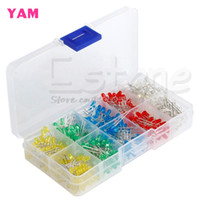Wholesale 3mm Led Kit - Wholesale- New 500Pcs 3mm LED Light White Yellow Red Blue Green Assortment Diodes DIY Kit -Y121 Best Quality