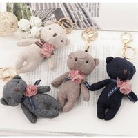 Wholesale Teddy Keyrings Wholesale - Mini Teddy Bear Keychain Doll key chain ring holder, Bag Charms Pendant Car Keyring Keychain Best Gift For Friend
