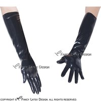 Wholesale Long Gloves Fetish - Black Sexy Long Latex Gloves Fetish Bondage Rubber Mittens Plus Size Latex Long Gloves Rubber Long Gloves
