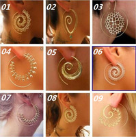 Wholesale Fake Gold Jewelry - New Vintage Tribal Indian Spiral Hoop Earrings For Women Charming Fake Ear Piercing Jewelry Gold Silver