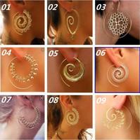 hint halkaları toptan satış-Yeni Vintage Tribal Hint Spiral Hoop Küpe Kadınlar Için Büyüleyici Sahte Kulak Piercing Takı Altın Gümüş