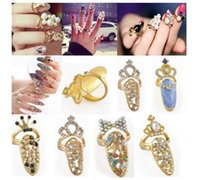 Wholesale Crown Ladies Rings - Fashion Rhinestone Bowknot Finger Ring Crown Flower Crystal Retro Queen Finger Nail Rings Adjustable Ladies Rings