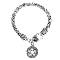 Top Selling High-end Women Wicca Flowers Knot Pentacle Jóias Pagan Link Chain Bracelet Jewelry