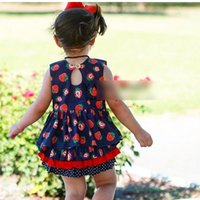 Wholesale Dress Strawberry Baby - New 2017 Strawberry Floral Printed Baby Sets Sleeveles Tops Dress + Shorts Brief 2pcs Summer Outfits Toddler Set Babies Clothes sets A6652