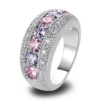 Wholesale Amethyst Ring 11 - Women Rings Fashion Pink Topaz & Amethyst 925 Silver Band Ring Size 6 7 8 9 10 11 12 Round Cut New Jewelry Gift Wholesale