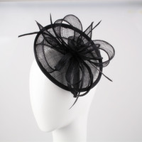 Wholesale Sinamay Cocktail Hat - Free shipping 17colors high quality fascinators feather Bridal Accessories wedding headpiece black cocktail hats with feathers OF1513