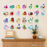 Wholesale removable wall words - Wall Sticker Learn Puzzle Decal Fun Alphabet With Cartoon Animal For Kid Room Nursery School English Word Decor 3 1zx F R
