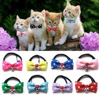 pajaritas para gatos al por mayor-Nuevo 100 unids / loot Cute Lovely Pet Dog Bowknot Tie Bow Corbata Collar Tiene la campana Ropa para mascotas Perro Gato Cachorro IC758