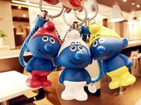 ingrosso regalo puffi-Più nuovo bel personaggio dei cartoni animati Puffi keychain auto moda portachiavi fascino ciondolo fumetto ciondolo regalo trasporto libero