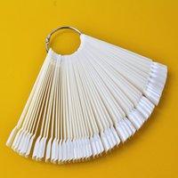 Wholesale Nail Polish Color Palette - Wholesale-50 PCS Folding Fan Type Transparent Nail Polish Palette Tools Tips Practice Color Chart
