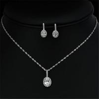 Wholesale Tungsten Wear Plates - Fashion Jewelry Set Silver Necklace Earrings Set zircon jewelry bride daily wear JS100279