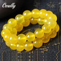 Wholesale Yellow Agate Gemstone Beads - Yellow Agate Stone,Natural Real Gemstone Bracelet Semi-Precious Yellow Gemstone Beads Bangles Women Party Jewelry Christmas Gift In Bulk
