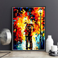 Wholesale Couple Painting Canvas - Abstract Couple Umbrella Diy Paint By Numbers Hand Painted Canvas Painting Home Living Room Office Decor Painting For Living Room Gift
