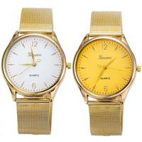 Wholesale Discount Waterproof Watches - Wholesale- Life Waterproof Geneva Unisex Lovers Fashion Watch Metal Band Quartz Luxury Wrist Watches Men Women Clock Large Discount