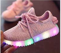 Wholesale Children Shoes With Light Led Enfant sneaker Girls tenis Sports Breathable Boys trainer yezi light baby shoes kids sneaker