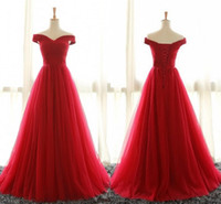 Wholesale Cheap Light Up Shirts - Cheap Off Shoulder Red Tulle Evening Dresses Party Gowns 2017 Sweep Train Pleated Plus Size Corset Formal Prom Dress