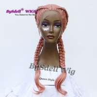 Double Fat Braids Hairstyle Perruque Synthétique Pestal Ash Smoke Pink Couleur Cheveux Braided Lace Front Perruques pour Black / White Women