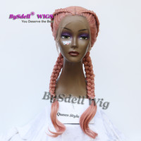 Wholesale Hair Wigs For White Women - Double Fat Braids Hairstyle Wig Synthetic Pestal Ash Smoke Pink Color Hair Braided Lace Front Wigs for Black  White Women
