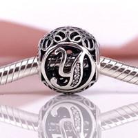 ingrosso y fascini-Autentico argento sterling 925 vintage Y, Clear CZ Charm Fit bracciale Pandora fai da te e collana 791869CZ