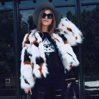 Wholesale Cashmere Short Coats For Women - 2018 Winter Fashion Slim Faux Fur Coat For Womens Long Sleeve Warm Short Imitation Fur Jackets Plus Size 3XL Fur Vest FS3084