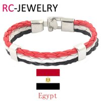 Wholesale Egypt Charms - 46# New Fashion zinc alloy charms jewelry men Wax rope Egypt national flag color bracelet for women football fans