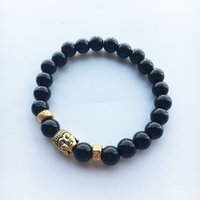 Wholesale Natural Jade Beads Prayer - Tibetan Gold Plated Bracelet for Women Black Lava Jade Beads Reiki Buddha Prayer Natural Stone Yoga Jewelry